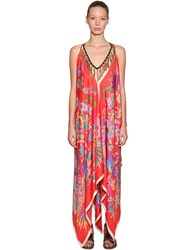 Etro Printed Silk Dress W Tassel Necklace Multicolor