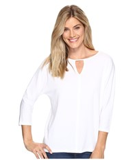 Lilla P 3 4 Sleeve Seamed Dolman White Women's Sweater