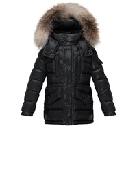 Moncler Hooded Fur Trim Button Front Puffer Coat Black