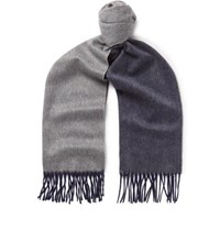 Begg And Co Arran Fringed Two Tone Cashmere Scarf Navy