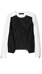 Tibi Cotton Combo Moto Jacket