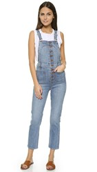 Madewell Cropped Overalls With Button Front Summer Wash