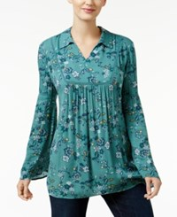 Styleandco. Style Co. Floral Print Bell Sleeve Top Only At Macy's Pop Garden Green
