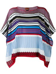 Missoni Zig Zag Knit Poncho Women Cotton Viscose One Size