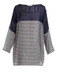Mes Demoiselles Franklin Striped Cotton Top Navy Multi
