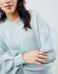Selected Femme Sweatshirt With Metallic Embroidery Green