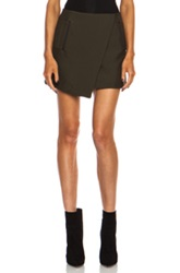 Josh Goot Tuxedo Mini Wrap Wool Blend Skirt In Green
