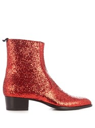 Saint Laurent High Top Glitter Trainers Red