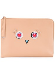 Fendi Hypnoteyes 2Jours Clutch Women Calf Leather One Size Nude Neutrals