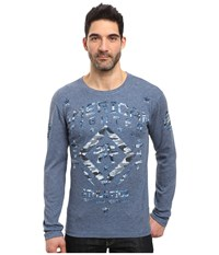 American Fighter Haverford Long Sleeve Reversible Thermal Heather Black Cobalt Men's Clothing Blue