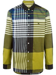 Burberry Colour Block Checked Shirt Green