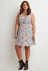 Forever 21 Abstract Chevron Print Dress Ivory Red