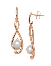 Lord And Taylor 6Mm Freshwater Pearl Diamond 14K Rose Gold Drop Earrings