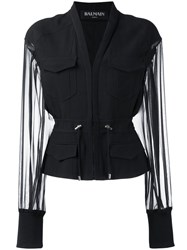 Balmain V Neck Fitted Jacket Black