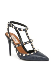 Valentino Rockstud Leather Slingback Pumps Denim Blue Army Coral