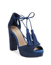 424 Fifth Mara Open Toe Suede Pumps Evening Blue