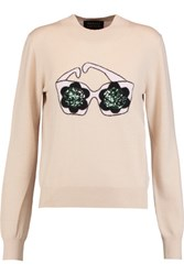 Markus Lupfer Daisy Sunglasses Sequined Intarsia Knit Merino Wool Sweater Beige