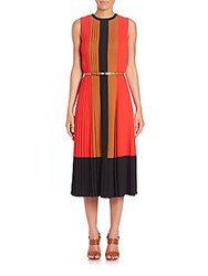 Michael Kors Pleated Silk Colorblock Dress Coral