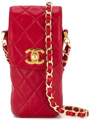 Chanel Vintage Quilted Chain Shoulder Pouch Red