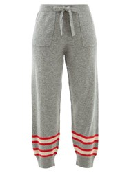 Allude Stripe Intarsia Wool Blend Track Pants Grey Multi