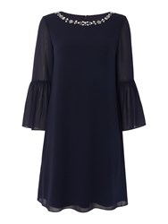 Eliza J Bell Sleeve Dress With Embellished Neckline Navy