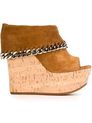 Casadei Foldover Top Wedge Sandals Brown