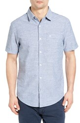 Original Penguin Men's Trim Fit Basketball Print Chambray Shirt