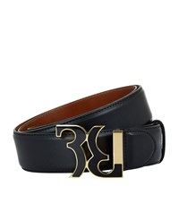 Billionaire Enamel Buckle Leather Belt Unisex Black
