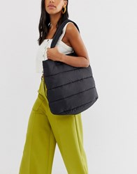 Monki Quilted Shopper In Black