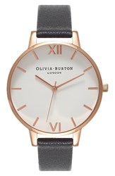 Olivia Burton Women's Big Dial Leather Strap Watch 38Mm Black White Rose Gold