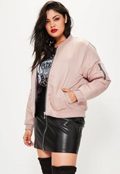 Missguided Plus Size Pink Soft Touch Bomber Jacket Mauve