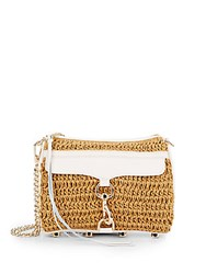 Rebecca Minkoff Mini Mab Leather Trimmed Straw Crossbody Natural