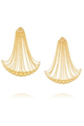 Arme De L'amour Bamboo Fringed Gold Plated Earrings One Size