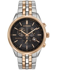Citizen Men's Chronograph Eco Drive Two Tone Stainless Steel Bracelet Watch 42Mm At2146 59E