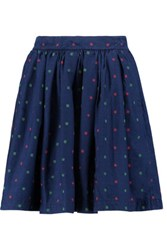 Maison Kitsune Cut Flowers Skater Embroidered Cotton Mini Skirt Midnight Blue
