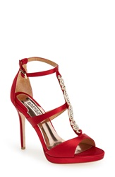 Badgley Mischka 'Pilar' T Strap Pump Women Red Satin