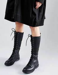 New Look Leather Lace Up Biker Boots Black