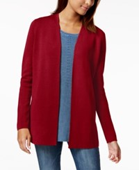 Charter Club Petite Open Front Cardigan Created For Macy's Cranberry Red