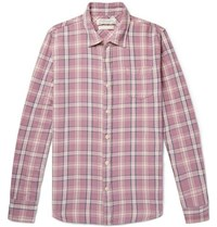 Remi Relief Checked Cotton Twill Shirt Pink