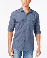 Inc International Concepts Men's Barnes Checked Long Sleeve Shirt Only At Macy's Navy