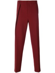 Martine Rose Straight Leg Pleated Trousers Polyester Spandex Elastane Virgin Wool Red