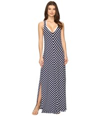 Tommy Bahama Breton Stripe Racerback Maxi Dress Cover Up Mare Navy White Women's Swimwear Gray