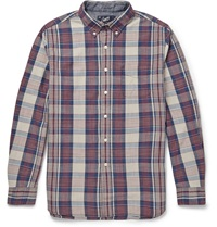 Grayers Button Down Collar Checked Cotton Shirt Red