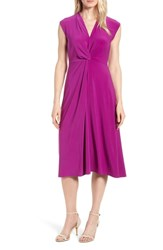 Chaus Knot Front Midi Dress Fuchsia Tile