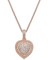 Macy's Diamond Heart Cluster Pendant Necklace 1 4 Ct. T.W. In 14K Rose Gold