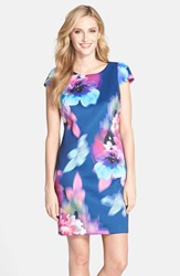Donna Ricco Floral Print Scuba Shift Dress Navy Multi