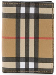 Burberry Checked Card Wallet Nude And Neutrals
