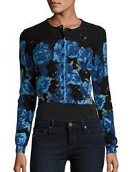 Tracy Reese Long Sleeve Printed Cropped Cardigan Black Blue