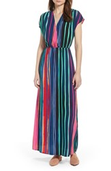 Halogen V Neck Maxi Dress Navy Multi Painted Stripe