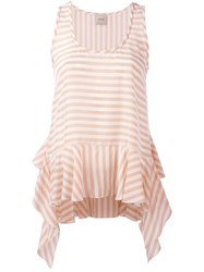 Nude Striped Soft Peplum Vest Pink Purple